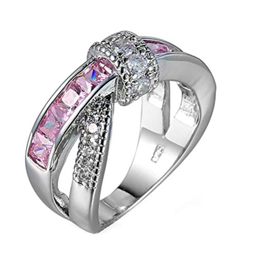 SumBonum 925 Sterling Silver Created Pink Topaz Filled Infinity Wedding Band Criss Cross Ring,Size 6