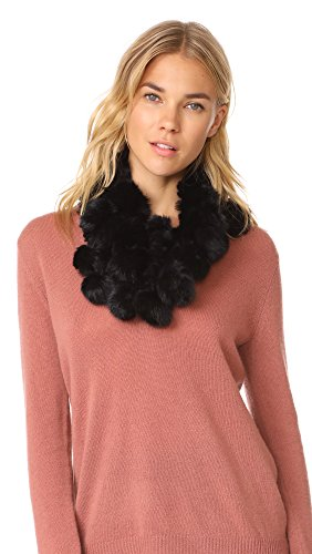 Adrienne Landau Women's Rabbit Cowl Scarf with Fur Pom Pom, Black, One Size by Adrienne Landau