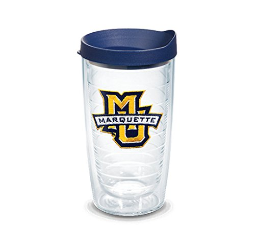 Tervis 1061211 Marquette University Emblem Individual Tumbler with Navy lid, 16 oz, Clear