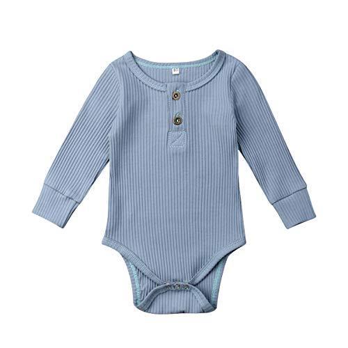 Luckinbaby Newborn Unisex Baby Solid Onesies Basic Plain Rib Stitch Long Sleeve Bodysuit Clothes for Infant Boy Girl Blue 0-3M