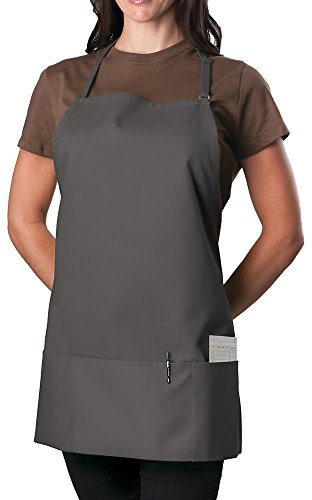 Slate Adjustable Bib Apron - 3 Pocket