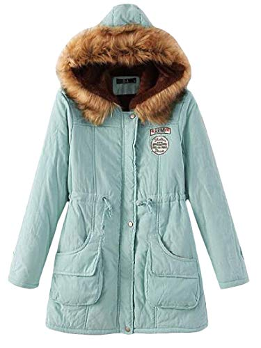 H Faux Winter Parkas Coat Fur Womens Fit 2 Hooded Collar Slim Thicken amp;E Fleece x1qIraY6w1