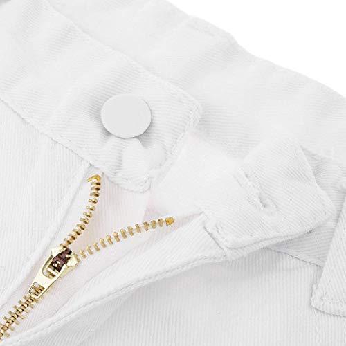 Estrechos Con Para Elásticos Huixin Mujer Stretch Lisos Vaqueros Desgastados Delanteros Bolsillos Blanco Pantalones Y Lápiz qw187