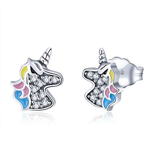 - MEETCCY Unicorn Stud Earrings Sterling Silver Cubic Zirconia Stud Earrings Animal Owl Fruit Charm Star CZ Small Silver Stud Earrings for Girls Women Fashion Jewelry Earrings (Unicorn Charms)