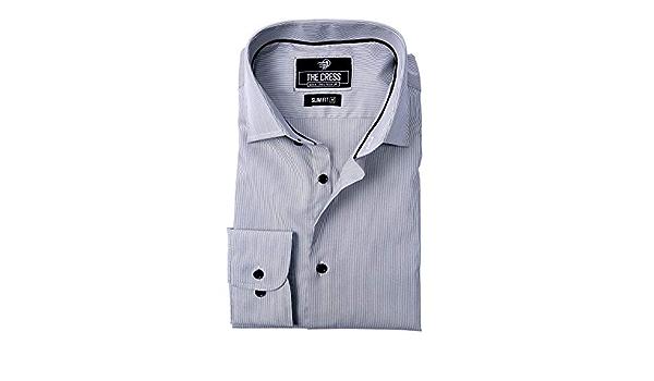 Camisa para Hombre de algodón Puro con Rayas Blancas y Grises ...