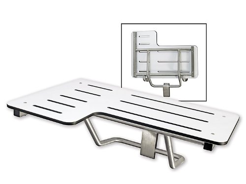 Folding Shower Bench, Right Handed, Phenolic Seat, ADA Compliant, Satin Stainless Steel Finish