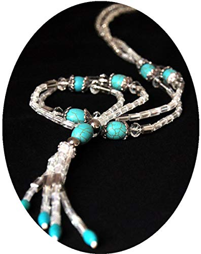 Bluetooth Necklace Headphones for Women Men Teen Girls Boys White Crystal with Turquoise Necklace Ear Buds