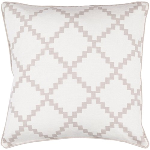 22'' Cotton White and Classic Taupe Linen Decorative Throw Pillow- Down Filler by Diva At Home