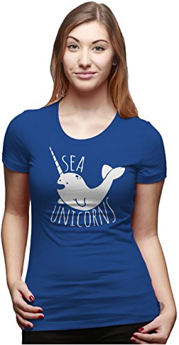Crazy Dog TShirts - Womens Sea Unicorns Smiling Narwhal Funny Nautical T shirt for Ladies - Camiseta Para Mujer