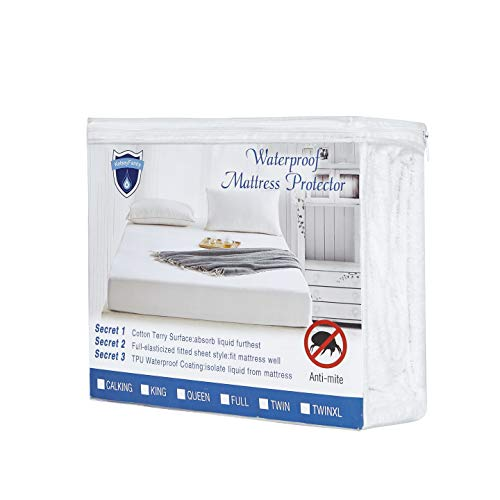 Alanzimo ❤Mattress Protectors ❤100% Waterproof ❤Full Size & Multiple Size Hypoallergenic Vinyl Free 100% Cotton Terry Surface Breathable Soft Comfortable 15 Years Warranty