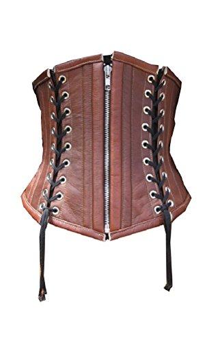 の前できらめき食用Brown REAL Leather Black Lace Gothic Steampunk Bustier Underbust Corset Costume