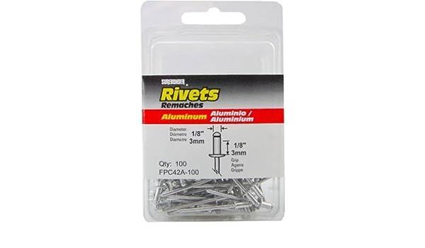 Short White Aluminum Rivet Grip Range: .063 FPC FPC42AW-100 100 Pack 1//8 Diameter .125 Aluminum Mandrel