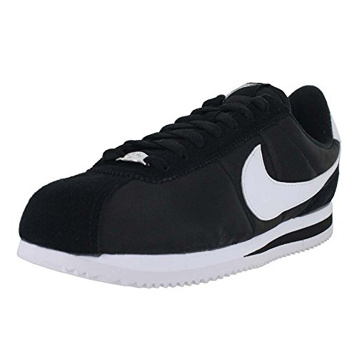 Nike Men's Cortez Basic Nylon Black/White/Metallic Silver Casual Shoe 10