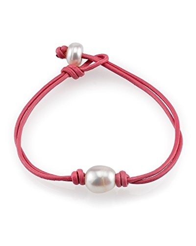 THE PEARL SOURCE 9-10mm Genuine White Freshwater Cultured Pearl Leather Ariel Bracelet for Women
