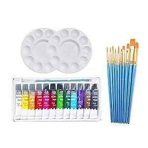 SKKSTATIONERY 50 Pcs Paint Brush Set, Nylon Hair, Acrylic, Oil, Watercolor Paints