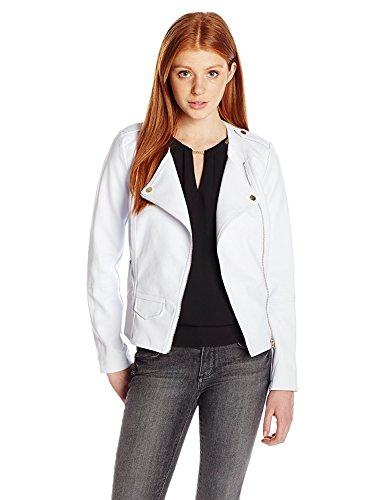 ハードリングベスト交換XOXO Junior's Pleather Moto Jacket White Medium [並行輸入品]