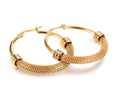 Large Mesh Earrings (18K Gold-Plated Large-Size Hollow Mesh Chain Wrapped Hoop Earrings for Women,Size 2626mm)