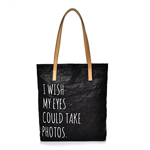 Vintage Travel Bag Water Proof Totes - Shoulder Bag Retro Tyvek Paper Durable Handbags Purses Casual with Lining Pockets (Black)