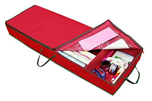 Simplify Wrapping Paper an Bow Storage, Heavy Duty 600 Denier Polyester, Holiday Red