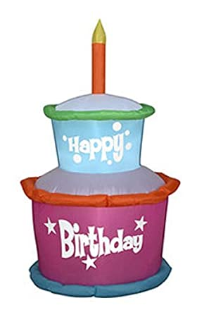 Gemmy Industries Airblown Inflatable Happy Birthday Cake With