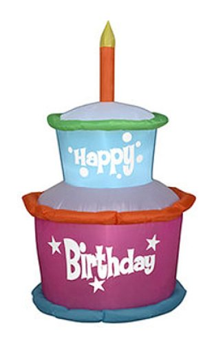 Candle Great Cake Decoration - Gemmy Industries Airblown Inflatable Happy Birthday Cake with Candles