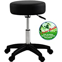 Adjustable Stool Chair Black With Wheels - Comfort SPA Tattoo Salon Stool - Hydraulic Rolling Chair - 18 - 24 inch - Plus Bonus Exclusive eBook - by Global Group