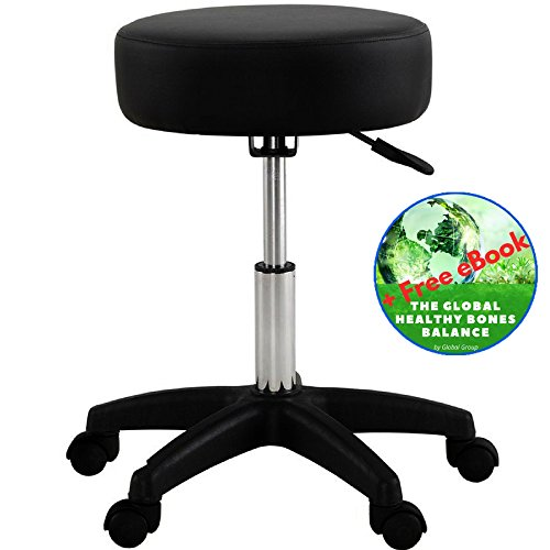 Global Group Adjustable Stool Chair Black With Wheels – Comfort SPA Tattoo Salon Stool – Hydraulic Rolling Chair – 18-24 inch – Plus Bonus Exclusive eBook