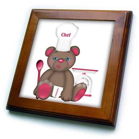 3dRose Anne Marie Baugh - Illustrations - Cute Pink and Brown Bear Chef With Chefs Hat Illustration - 8x8 Framed Tile - Tile Chef Framed
