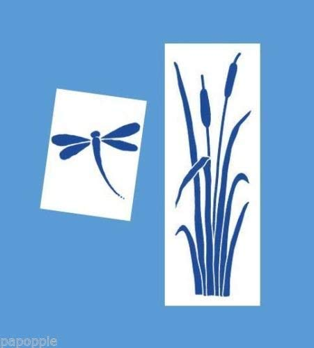 OutletBestSelling Stencil Cattails Swamp Weeds Dragonfly 2 Stencils