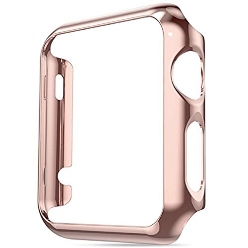 Apple Watch Series 2 Case 38/42mm, Yimer Full Cover Slim Hard PC Plated Protective Bumper Shockproof Sheld Guard Screen Protector Cover (42MM, Rose gold)