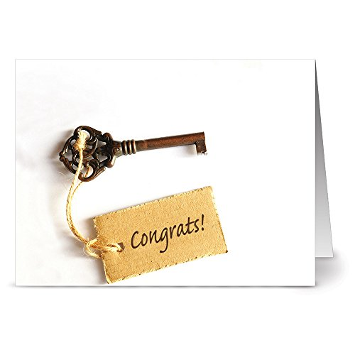 All Occasion Greeting Cards - 24 Pack - Unique Congrats Key Design - KRAFT ENVELOPES INCLUDED - Blank Greeting Card - Glossy Cover Blank Inside - By Note Card Caf