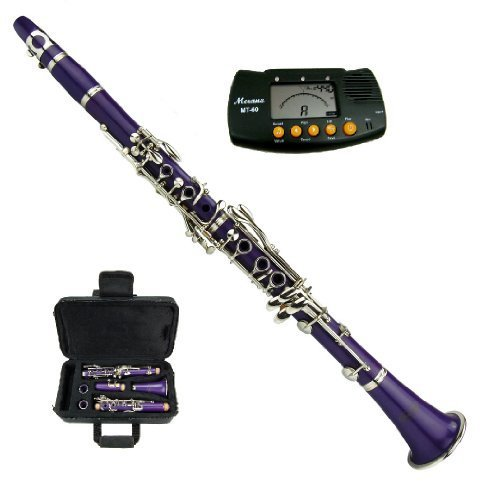 B FLAT PURPLE ABS CLARINET WITH CASE + FREE MERANO METRO TUNER by Merano