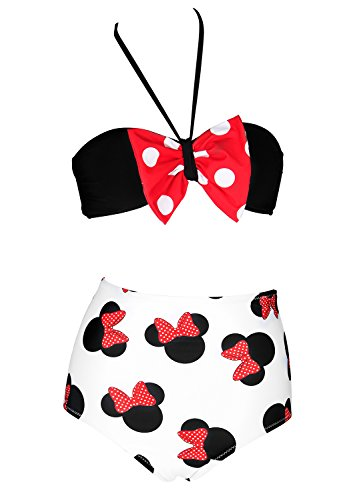 BANDEA Red Bow Bandeau Bikini Set High Waisted Swimsuits Bathing Suit Swimwear