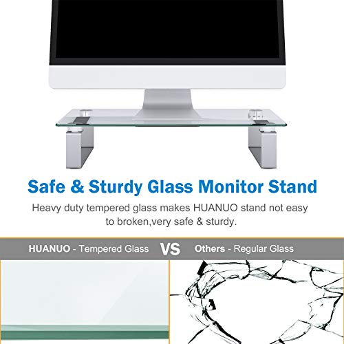 Glass Monitor Stand - Monitor Stand Riser with Anti Slip Legs, Tempered Glass Premium Ergonomic Screen Holder Suitable for LED LCD TV Monitor, Notebook, Computer up to 44lbs by HUANUO (Image #5)