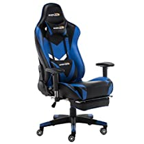 WENSIX Gaming Chair High Back Computer Chair with Adjusting Footrest, Ergonomic Designs Extremely Durable PU Leather Steel Frame Racing Chair
