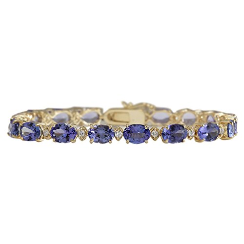 18.03 Carat Natural Blue Tanzanite and Diamond (F-G Color, VS1-VS2 Clarity) 14K Yellow Gold Luxury Tennis Bracelet for Women Exclusively Handcrafted in USA 14k Yellow Gold Tanzanite Bracelet