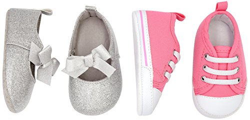 Simple Joys by Carter's Baby Girls' 2 Pack Crib Shoe Set: Soft Sole Mary Jane Sneaker, Candy Pink/White/Silver/White, 9-12 Months Regular US Infant
