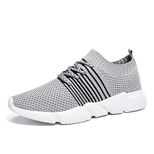 (Breathable Fashion Sneakers Men Soft Mesh Slip on Men's Driving Shoes Male Shoes Adult,S2809-Gray,8.5)