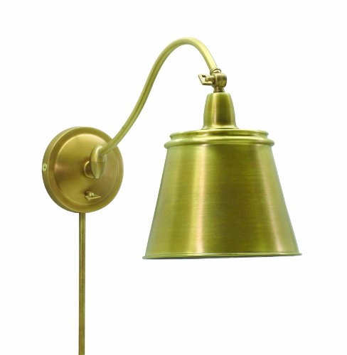 House Of Troy HP725-WB-MSWB Hyde Park Wall Sconce Lamp, Weathered Brass with Metal Shade