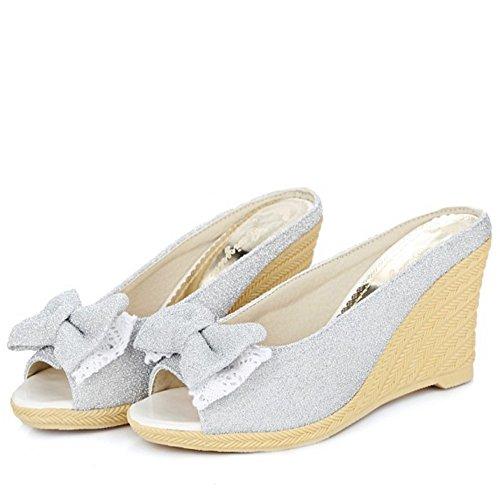 RAZAMAZA Mujer Moda Peep Toe Sandalias y Chanclas Tacon De Cuna Tacon Alto Zapatos De Bowknot Azul