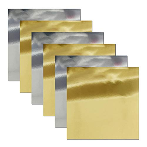 Gold Silver Foil - Stretchable Metallic Heat Transfer Vinyl Gold&Silver Foil, Iron On HTV Bundle for DIY Your Own Clothes, 12x10 Inch, Pack of 6