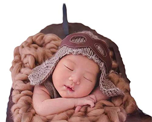 - Infant Aviator Hat Crochet Costume Outfits Photography Props Pilot Hat+Patch for 0-3 Months Newborn Baby Boy Girl