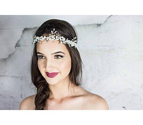 Pearl Bridal Headband, Wedding Halo Headpiece, Beach Hair Vine wreath, by Hair Floaters