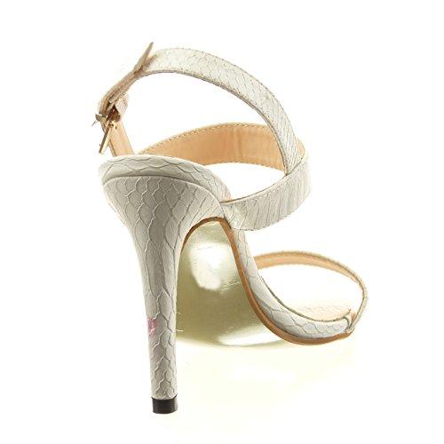 Sopily - damen Mode Schuhe Sandalen Offen Schlangenhaut - Weiß
