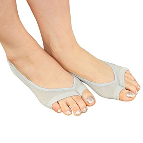 Lamolory Women's Half Toe Grip Non-Slip For Ballet, Yoga, Pilates, Barre Toe Socks (Gy, Large)