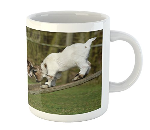 - Ambesonne Animal Mug, Two Cute Little Baby Goats on a Bench with Their Horns Picture Image Design, Printed Ceramic Coffee Mug Water Tea Drinks Cup, White and Green