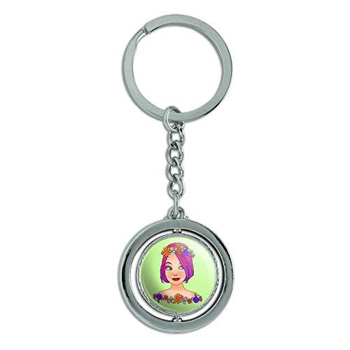 Classy Modern Day Hippie Flower Child Spinning Round Chrome Plated Metal Keychain Key Chain Ring