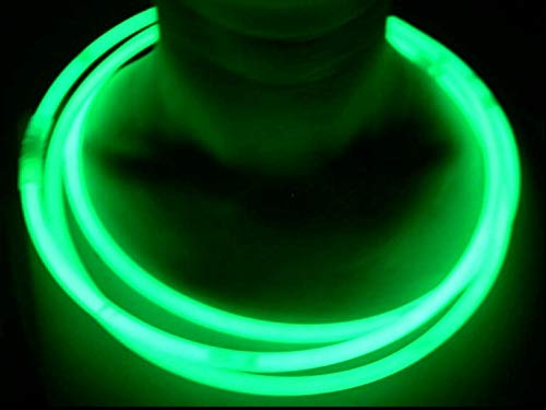 "(Glow Sticks Bulk Wholesale Necklaces, 100 22"" Green Glow Stick Necklaces. Bright Color, Glow 8-12 Hrs, Connector Pre-Attached, Sturdy Packaging, GlowWithUs)"