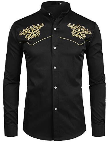 - ZEROYAA Mens Hipster Design Gold Star Embroidery Slim Fit Long Sleeve Mandarin Collar Shirts Tops ZZCL07 Black Small