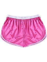 Mens Shiny Satin Swim Boxer Briefs Thongs Underwear Lingerie Beach Lounge Sports Shorts